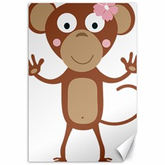 Female Monkey With Flower Canvas 12  X 18   by ilovecotton