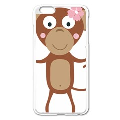 Female monkey with flower Apple iPhone 6 Plus/6S Plus Enamel White Case by ilovecotton