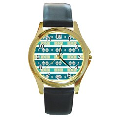 Rhombus And Stripes round Gold Metal Watch by LalyLauraFLM