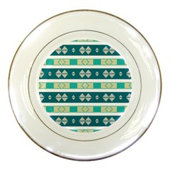 Rhombus And Stripes 			porcelain Plate by LalyLauraFLM