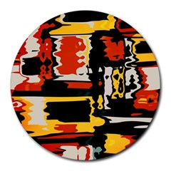 Distorted Shapes In Retro Colors round Mousepad by LalyLauraFLM