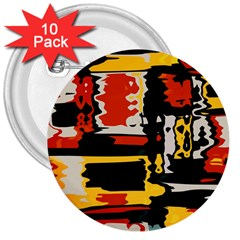 Distorted Shapes In Retro Colors 3  Button (10 Pack) by LalyLauraFLM