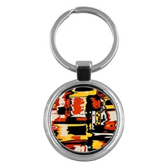 Distorted Shapes In Retro Colors 			key Chain (round) by LalyLauraFLM