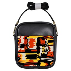 Distorted Shapes In Retro Colors girls Sling Bag by LalyLauraFLM