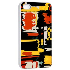Distorted Shapes In Retro Colors 			apple Iphone 4/4s Seamless Case (white) by LalyLauraFLM