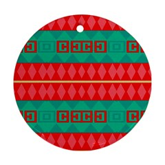 Rhombus Stripes And Other Shapes 			ornament (round) by LalyLauraFLM