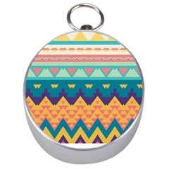 Pastel Tribal Design Silver Compass by LalyLauraFLM