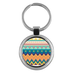 Pastel Tribal Design 			key Chain (round) by LalyLauraFLM
