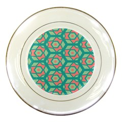 Pink Honeycombs Flowers Pattern  porcelain Plate by LalyLauraFLM