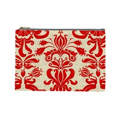 Ruby Red Swirls Cosmetic Bag (large)