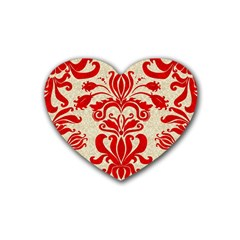 Ruby Red Swirls Rubber Coaster (heart)  by SalonOfArtDesigns