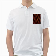 Chevron1 Black Marble & Brown Burl Wood Golf Shirt by trendistuff