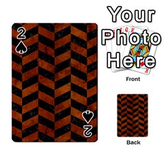 Chevron1 Black Marble & Brown Burl Wood Playing Cards 54 Designs by trendistuff