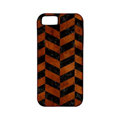 Chevron1 Black Marble & Brown Burl Wood Apple Iphone 5 Classic Hardshell Case (pc+silicone) by trendistuff