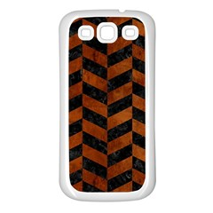Chevron1 Black Marble & Brown Burl Wood Samsung Galaxy S3 Back Case (white) by trendistuff