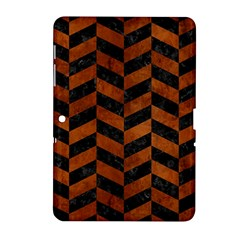 Chevron1 Black Marble & Brown Burl Wood Samsung Galaxy Tab 2 (10 1 ) P5100 Hardshell Case  by trendistuff