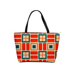 Squares And Rectangles In Retro Colors Classic Shoulder Handbag by LalyLauraFLM