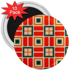 Squares And Rectangles In Retro Colors 			3  Magnet (10 Pack)