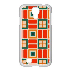 Squares and rectangles in retro colors Samsung GALAXY S4 I9500/ I9505 Case (White) by LalyLauraFLM