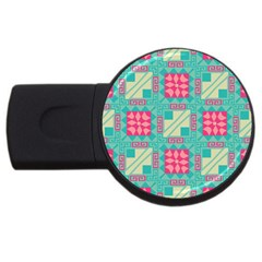 Pink Flowers In Squares Pattern 			usb Flash Drive Round (2 Gb) by LalyLauraFLM