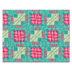 Pink Flowers In Squares Pattern 			jigsaw Puzzle (rectangular) by LalyLauraFLM