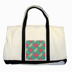 Pink Flowers In Squares Pattern 			two Tone Tote Bag by LalyLauraFLM