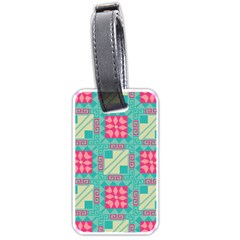 Pink Flowers In Squares Pattern 			luggage Tag (one Side) by LalyLauraFLM