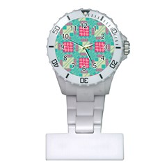 Pink Flowers In Squares Pattern 			nurses Watch by LalyLauraFLM