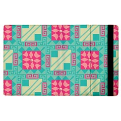 Pink flowers in squares pattern 			Apple iPad 3/4 Flip Case by LalyLauraFLM