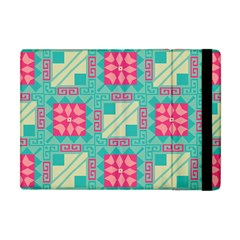 Pink Flowers In Squares Pattern 			apple Ipad Mini Flip Case by LalyLauraFLM