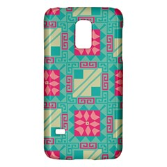Pink Flowers In Squares Pattern 			samsung Galaxy S5 Mini Hardshell Case by LalyLauraFLM