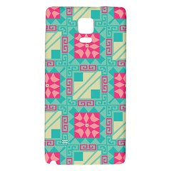 Pink Flowers In Squares Pattern 			samsung Note 4 Hardshell Back Case by LalyLauraFLM