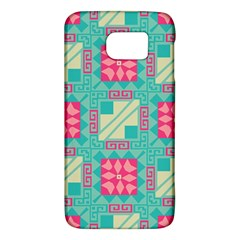 Pink Flowers In Squares Pattern 			samsung Galaxy S6 Hardshell Case by LalyLauraFLM