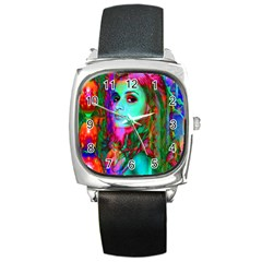 Alice In Wonderland Square Metal Watches by icarusismartdesigns