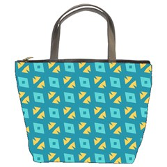 Blue Yellow Shapes Pattern bucket Bag by LalyLauraFLM