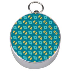 Blue Yellow Shapes Pattern Silver Compass by LalyLauraFLM