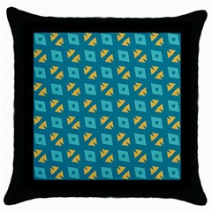 Blue Yellow Shapes Pattern throw Pillow Case (black) by LalyLauraFLM