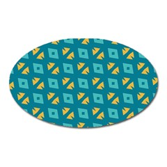 Blue Yellow Shapes Pattern 			magnet (oval) by LalyLauraFLM