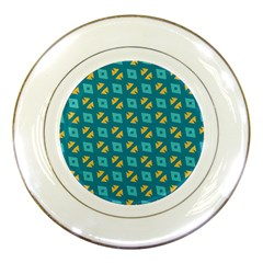 Blue Yellow Shapes Pattern porcelain Plate by LalyLauraFLM