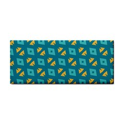 Blue Yellow Shapes Pattern hand Towel by LalyLauraFLM