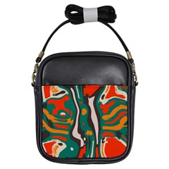 Retro Colors Chaos 			girls Sling Bag by LalyLauraFLM