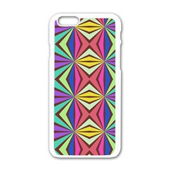 Connected Shapes In Retro Colors  apple Iphone 6/6s White Enamel Case by LalyLauraFLM