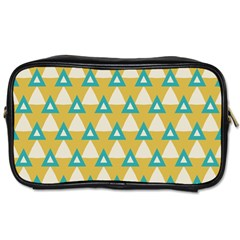 White Blue Triangles Pattern Toiletries Bag (two Sides) by LalyLauraFLM