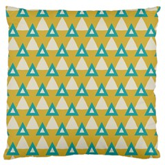 White Blue Triangles Pattern 	large Flano Cushion Case (two Sides) by LalyLauraFLM