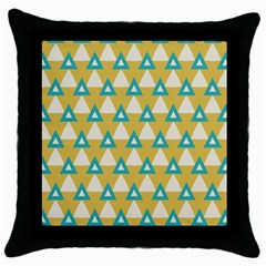 White Blue Triangles Pattern 			throw Pillow Case (black) by LalyLauraFLM