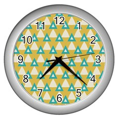 White Blue Triangles Pattern wall Clock (silver) by LalyLauraFLM