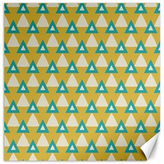 White Blue Triangles Pattern canvas 12  X 12  by LalyLauraFLM