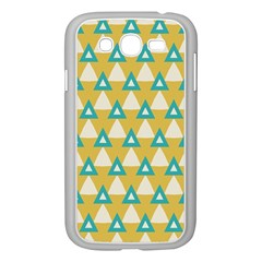 White Blue Triangles Pattern 			samsung Galaxy Grand Duos I9082 Case (white) by LalyLauraFLM
