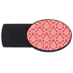 Salmon Damask Usb Flash Drive Oval (4 Gb)  by SalonOfArtDesigns