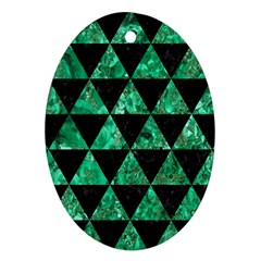 Triangle3 Black Marble & Green Marble Ornament (oval) by trendistuff
